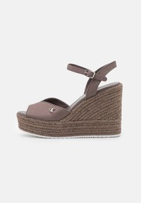 Calvin Klein Jeans - WEDGE ANKLE STRAP  - Platform sandals - dusty brown - 1