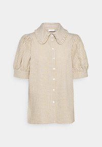 Freequent - GINGHAM - Button-down blouse - beige sand - 0