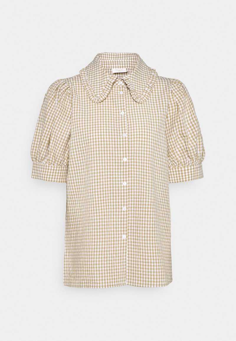 Freequent - GINGHAM - Button-down blouse - beige sand