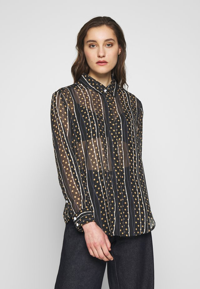 AIMEE - Button-down blouse - black/sand