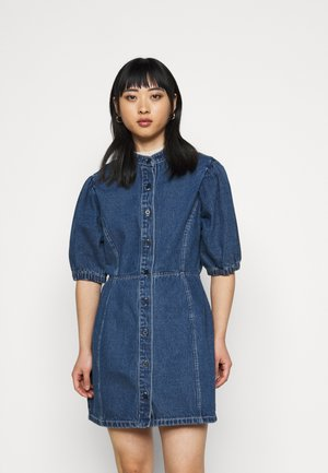 CINCHED WAIST BALLOON SLEEVE DRESS - Vestito di jeans - blue