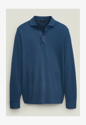 MIT STRUKTURMUSTER - Polo shirt - blue black denim