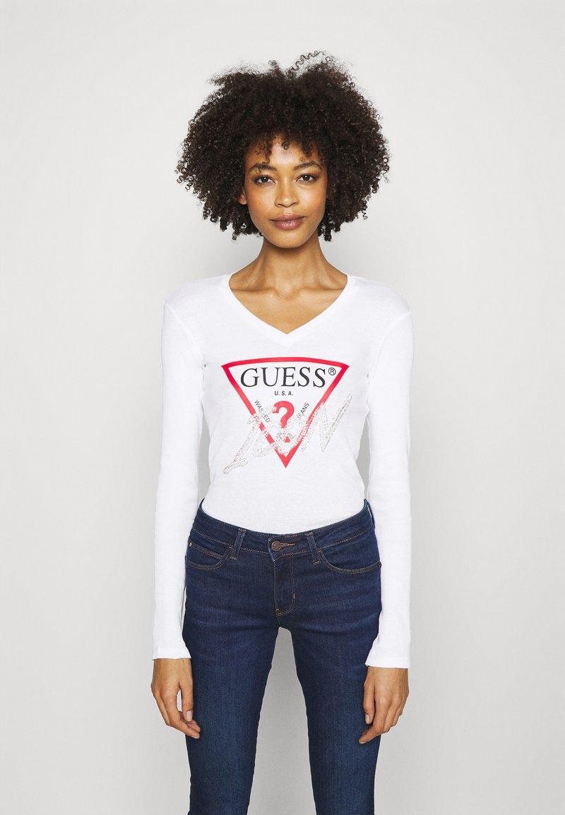 Guess - ICON TEE - Bluzka z długim rękawem - true white
