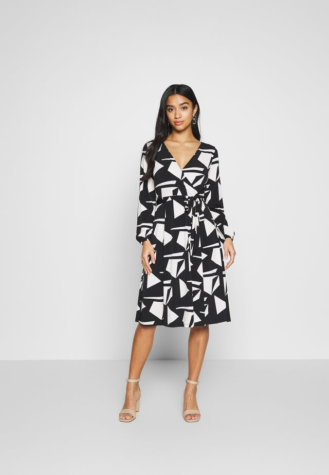 STONE GEO WRAP DRESS - Jersey dress - black