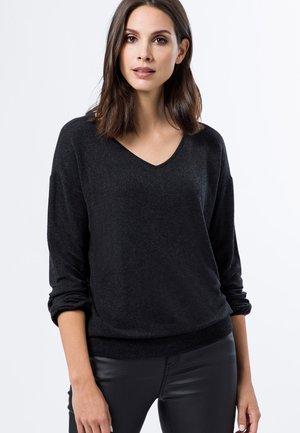 MIT V-AUSSCHNITT - T-shirt à manches longues - anthracite-m
