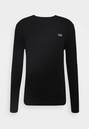 ROUND COLLAR WITH PLAQUETTE ON CHEST - Jumper - black