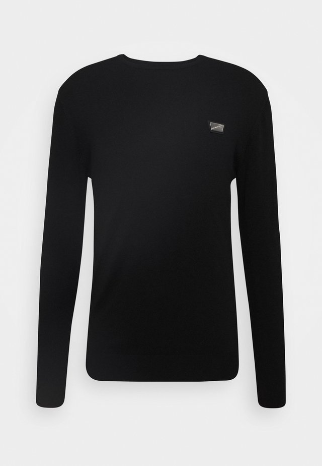 ROUND COLLAR WITH PLAQUETTE ON CHEST - Strikpullover /Striktrøjer - black