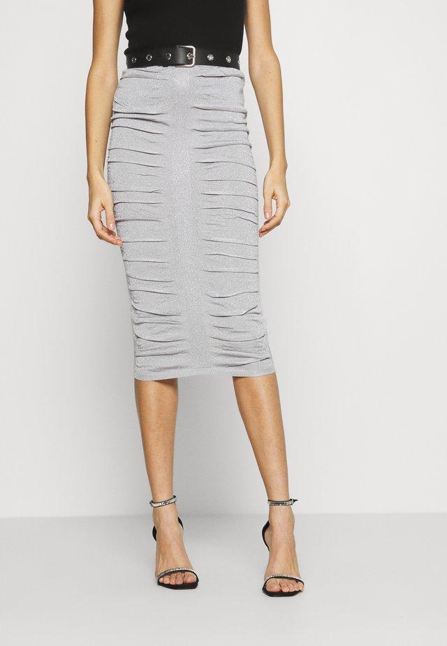 METALLIC RUCHED SKIRT - Pencil skirt - silver