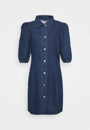 FITTED DRESS WITH COLLAR AND PUFF SLEEVES - Dongerikjole - dark wash