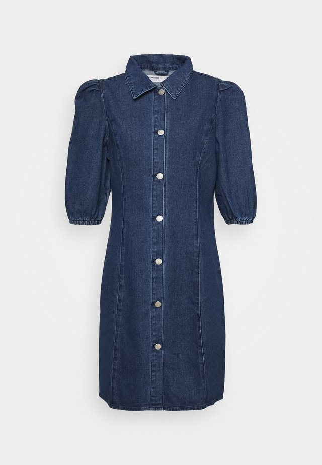 FITTED DRESS WITH COLLAR AND PUFF SLEEVES - Spijkerjurk - dark wash