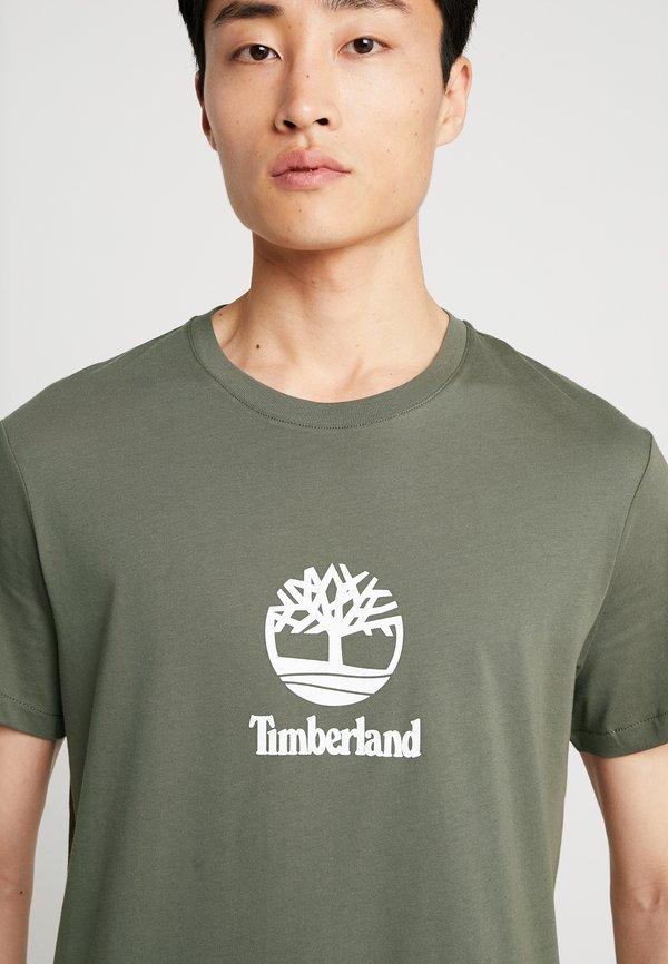 Timberland STACK LOGO TEE - T-shirt z nadrukiem - grape leaf/oliwkowy melanż Odzież Męska JXYG