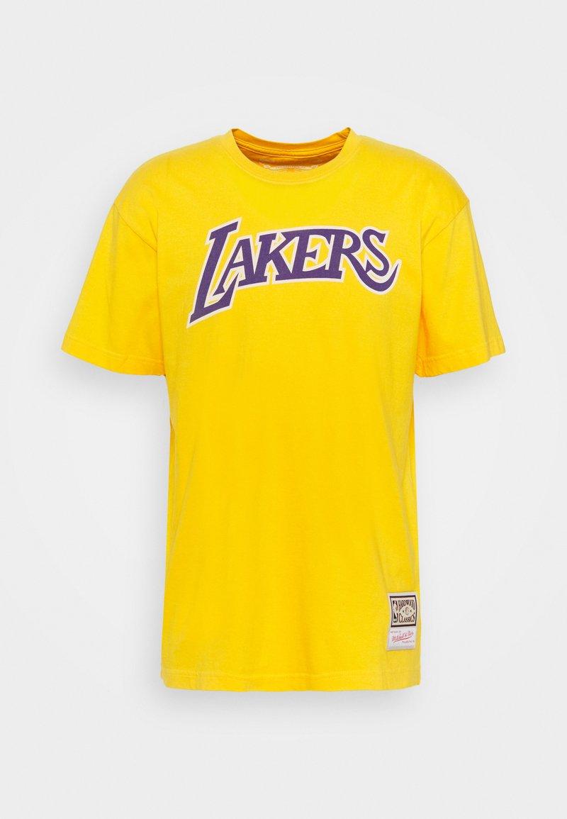 Mitchell & Ness - NBA LOS ANGELES LAKERS WORN LOGO TEE - Club wear - yellow