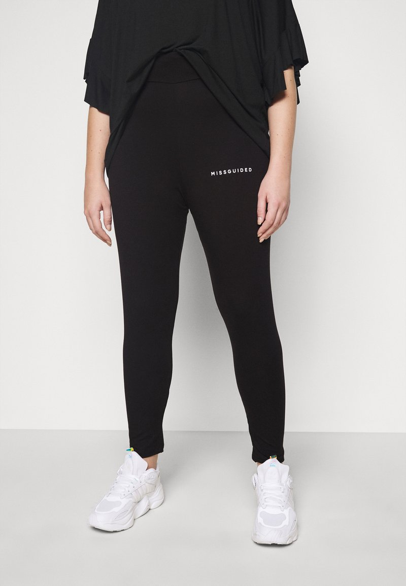 Missguided Plus - PLUS SIZE BRANDED - Leggings - Trousers - black