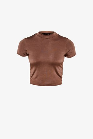 SLINKY CREW NECK CAP SLEEVE CROP - Basic T-shirt - nude chocolate