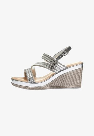 SILVER ASYMMETRIC SPARKLY WEDGES - Sandály na vysokém podpatku - silver