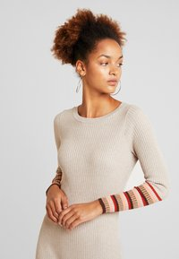 Vila - VIHELENI STRIPE DRESS - Jumper dress - natural melange/toffee - 4
