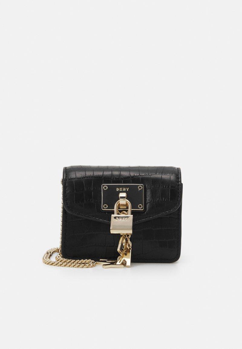 DKNY - ELISSA MICRO MINI CROCO XBODY - Across body bag - black/gold