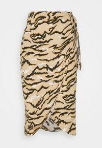 Marks & Spencer London - ANIMAL WRAP MIDI - Pencil skirt - sand - 0