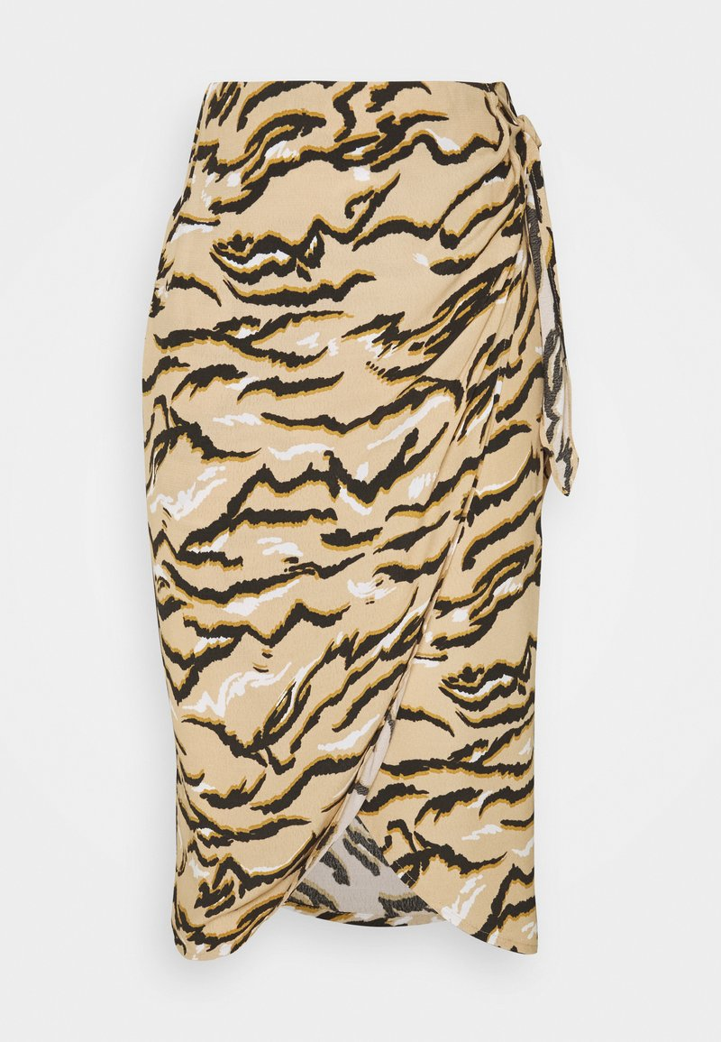 Marks & Spencer London - ANIMAL WRAP MIDI - Pencil skirt - sand