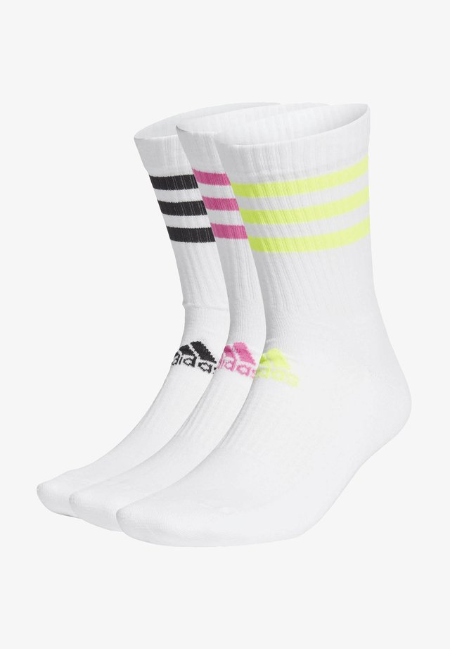 3-STRIPES CUSHIONED CREW SOCKS 3 PAIRS - Sports socks - white