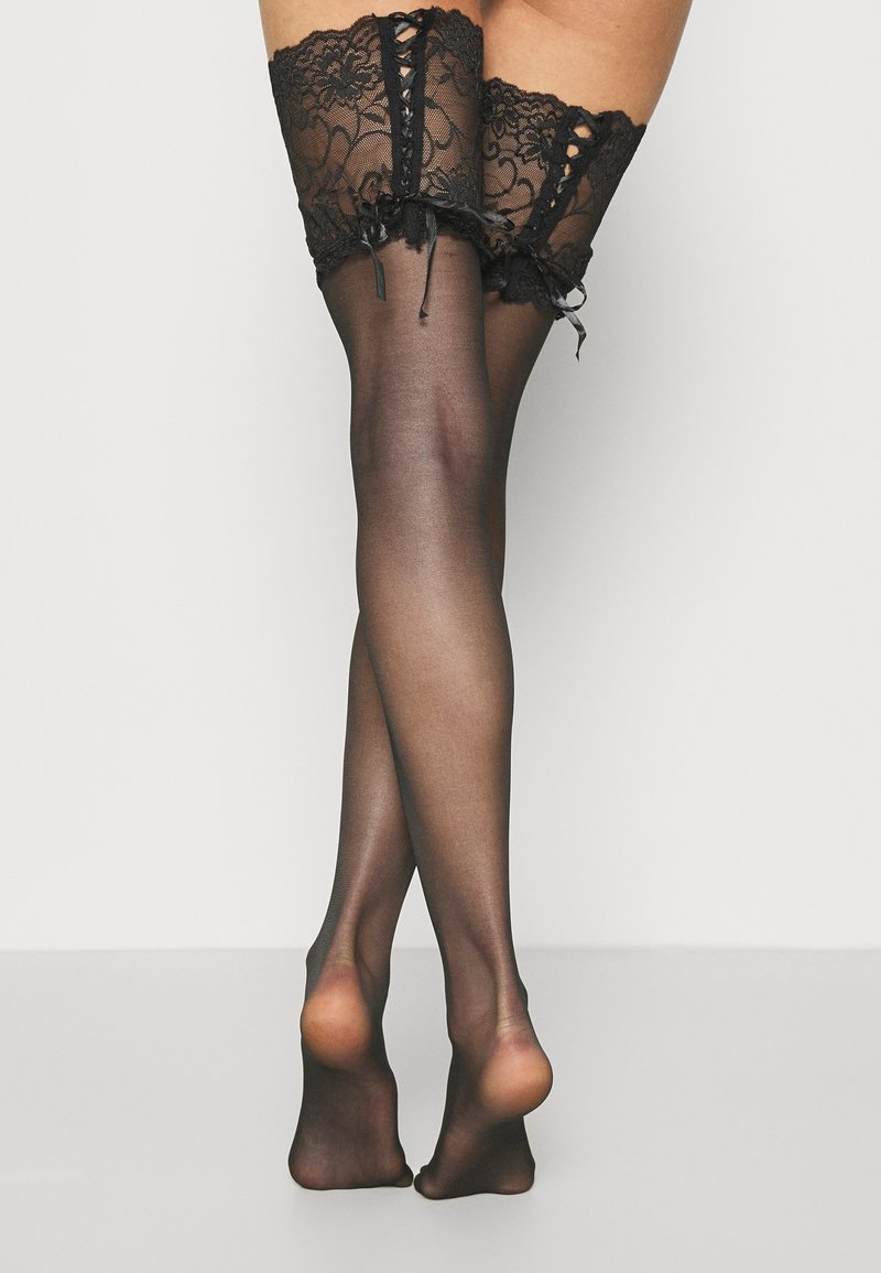 Pour Moi - ALL TIED UP LACED UP STOCKING  - Overknee-strømper - black
