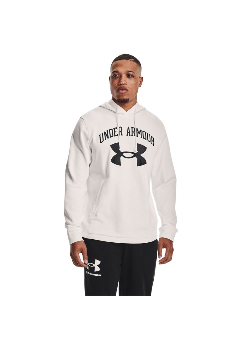 Under Armour - RIVAL TERRY BIG LOGO HD-WHT - Hoodie - onyx white