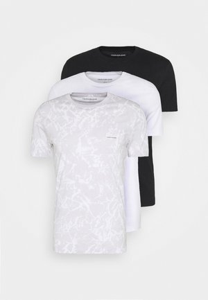 3 PACK  - T-shirt basic - black/ grey / bright white