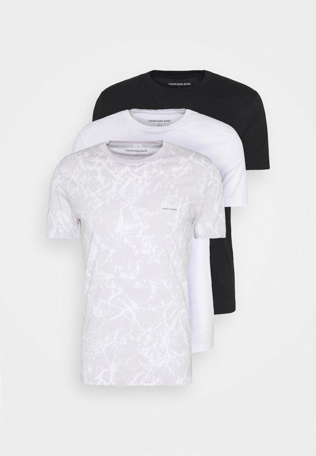 TEE 3 PACK  - Jednoduché triko - black/ grey / bright white