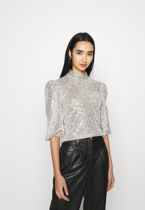 STAND NECK - Blusa - silver