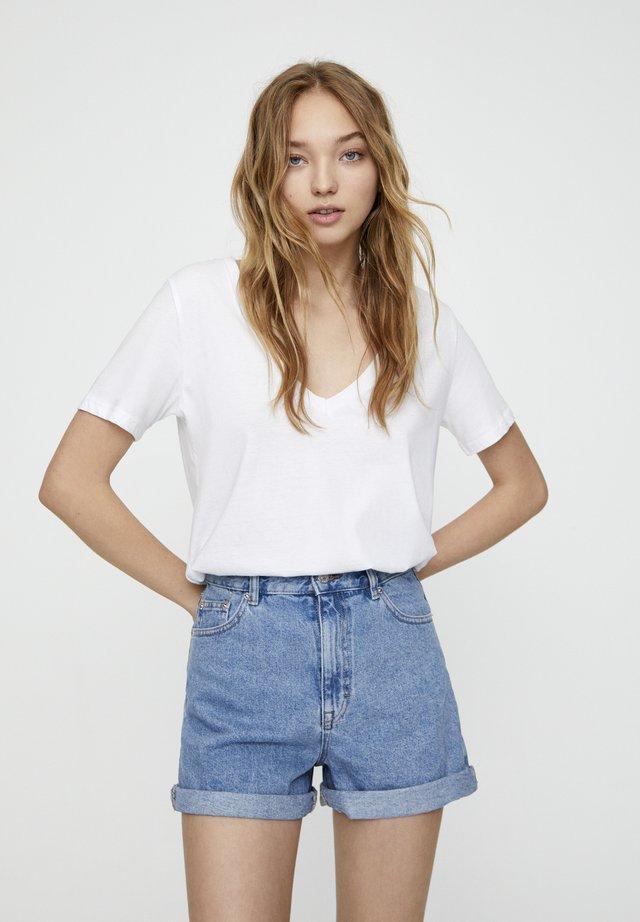 Short en jean - mottled dark blue