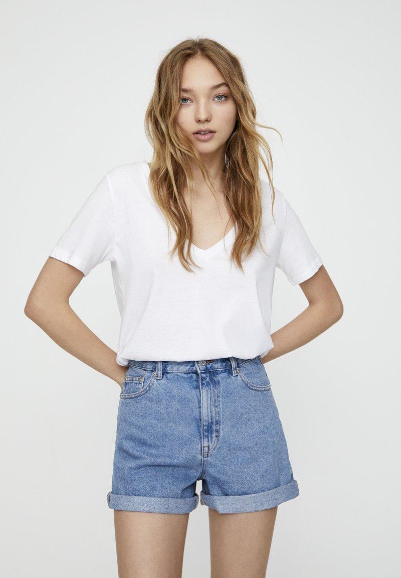 PULL&BEAR - Jeans Shorts - mottled dark blue