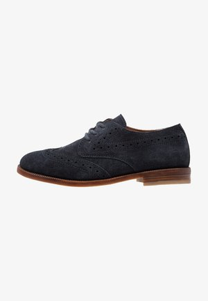LEATHER - Veterschoenen - dark blue
