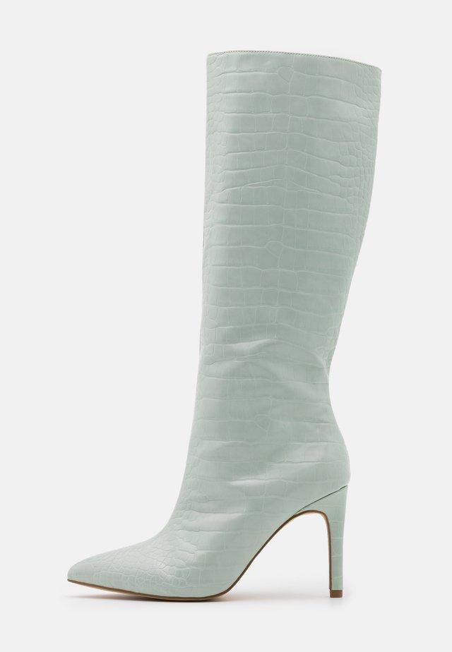 CROC MID STILETOE TUBULAR BOOTS - High heeled boots - sage