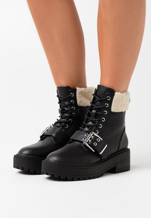 ONLBRANDY LACE UP BOOT - Platform ankle boots - black
