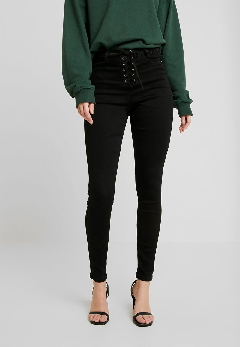 Missguided - VICE FRONT - Jeans Skinny Fit - black coated