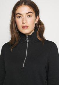 Even&Odd - HIGH NECK HALF ZIP SWEATSHIRT - Sweatshirt - black - 3