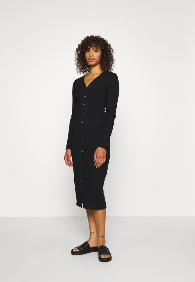 BUTTON DOWN LONG SLEEVE DRESS - Gebreide jurk - black
