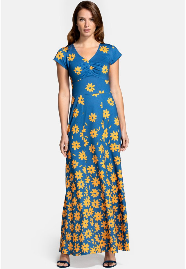 Vestito lungo - daisy placement blue yellow