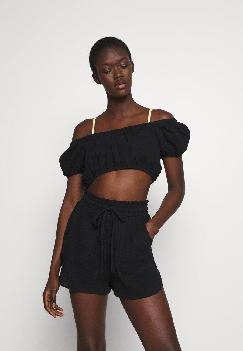 Cotton On Body - OFF THE SHOULDER LONGLINE SHORT SET - Beach accessory - black