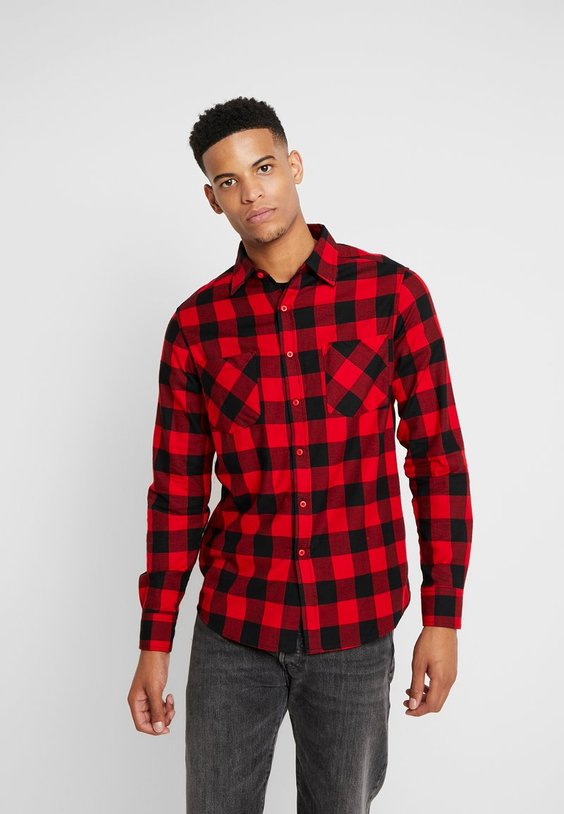Urban Classics - CHECKED - Shirt - black/red