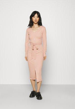 RIBBED BUTTON FRONT DRESS - Jumper dress - rose