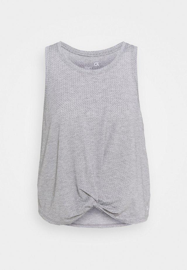 SLEEVELESS TWIST FRONT  - T-shirt sportiva - medium grey