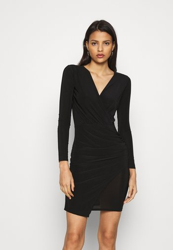 SLINKY WRAP OVER MINI DRESS