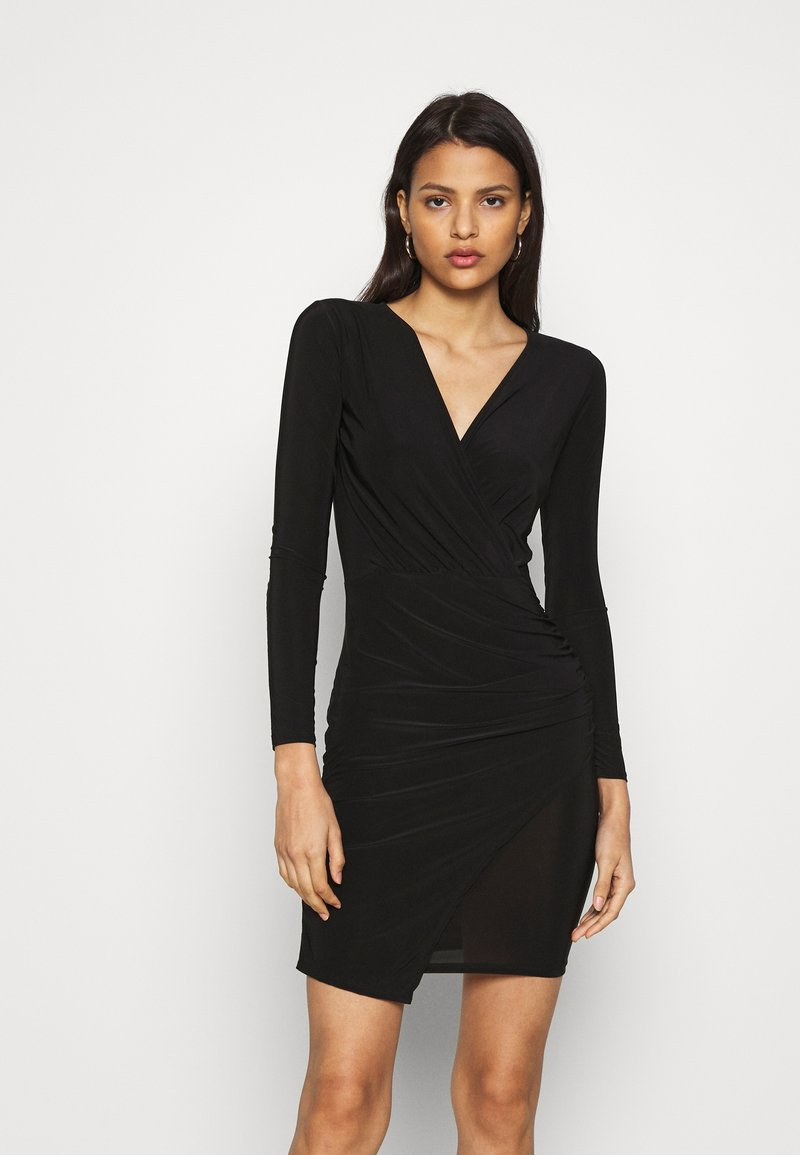 Missguided - SLINKY WRAP OVER MINI DRESS - Pouzdrové šaty - black