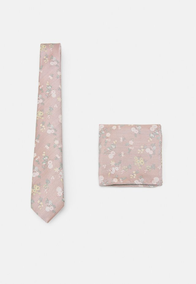 FLORAL TIE AND HANKIE SET - Kravata - light pink