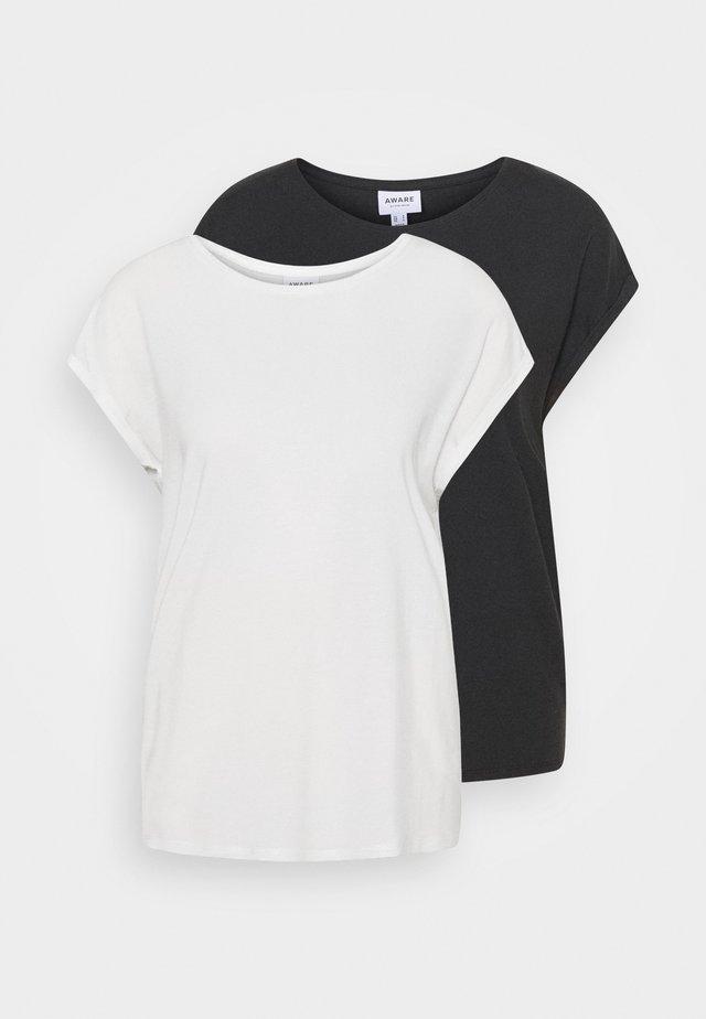 VMAVA PLAIN 2 PACK - Basic T-shirt - black/snow white