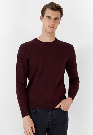 BASIC ROUND NECK - Jumper - burgundy