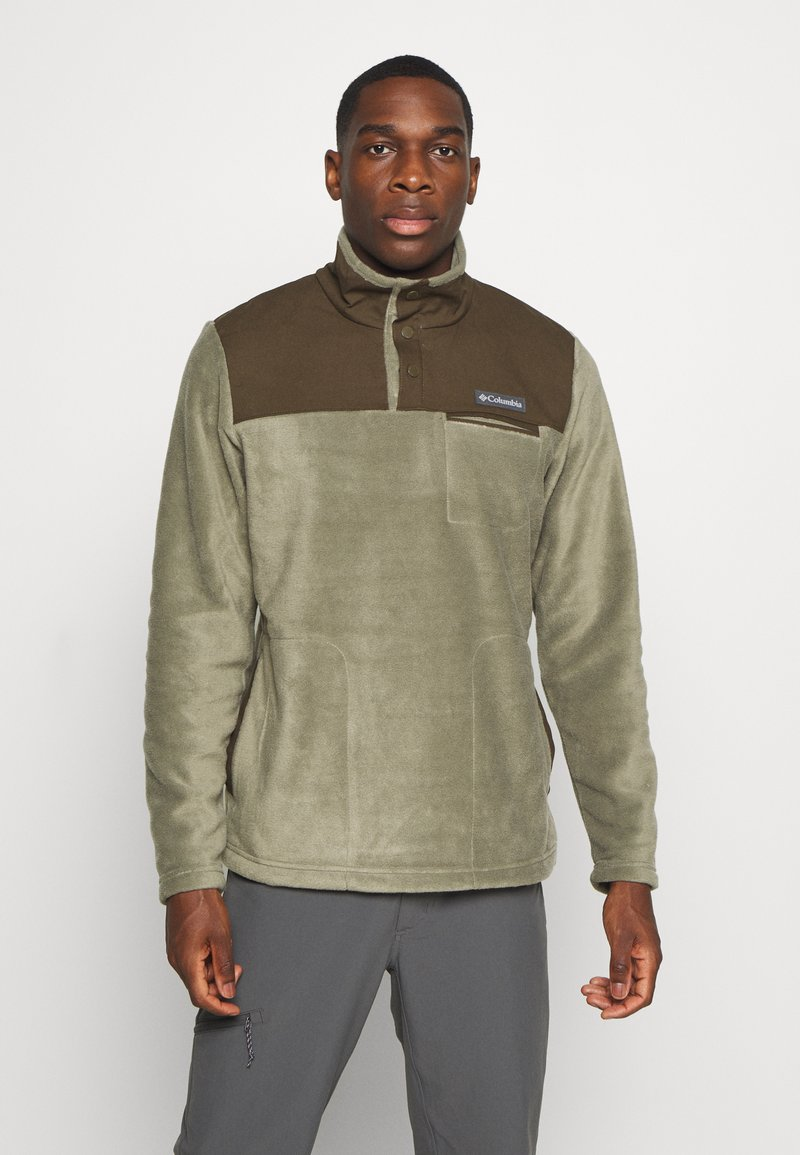 Columbia - COTTONWOOD PARKHALF SNAP - Fleece trui - stone green/olive green