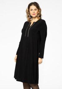 Yoek - EMBELLISHED RIBBON DETAIL - Day dress - black - 0