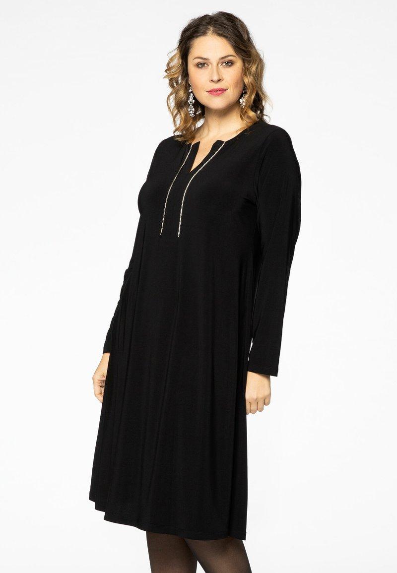 Yoek - EMBELLISHED RIBBON DETAIL - Day dress - black